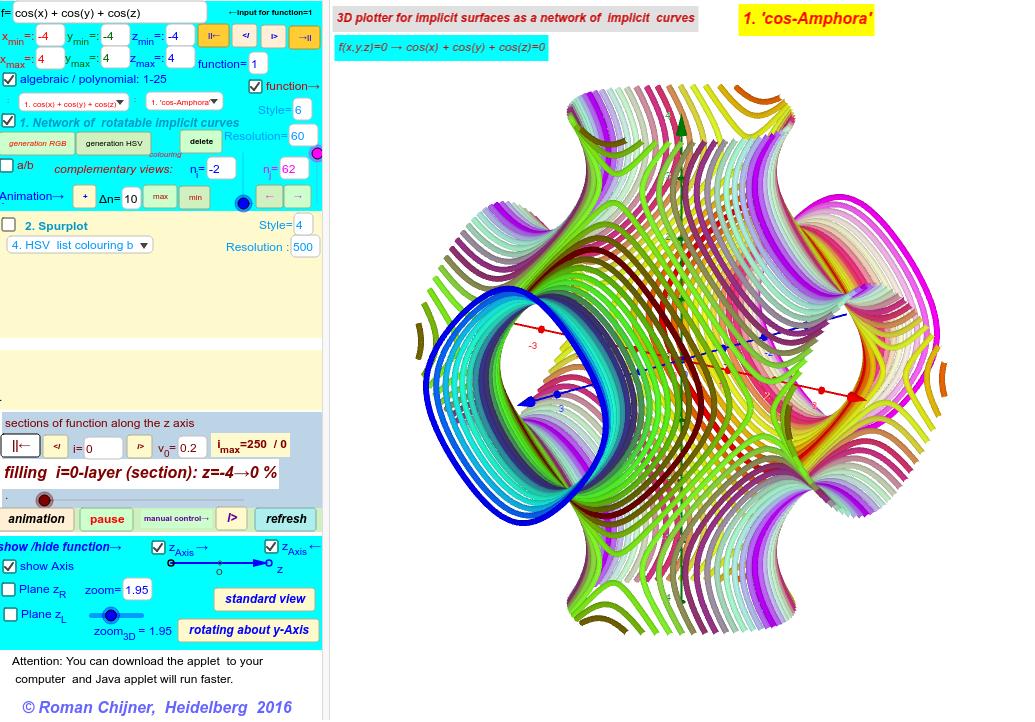 50 algebraic and polynomial functions. Network of rotatable implcit curves is installed. For this reason this applettake a lot of time toload. Drücke die Eingabetaste um die Aktivität zu starten