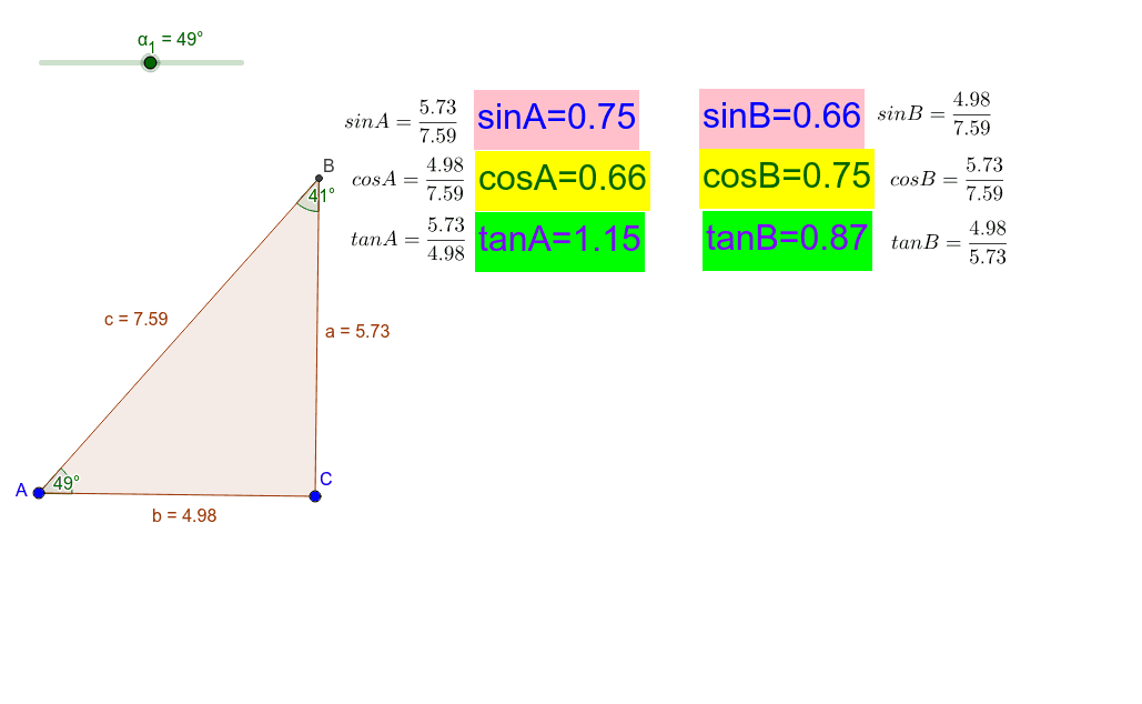 Move the slider to change angle A in the triangle. Press Enter to start activity