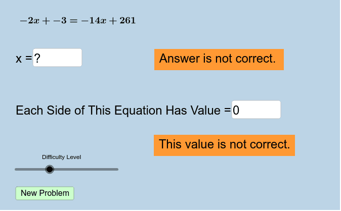 2.1 Solving Linear Equations Press Enter to start activity