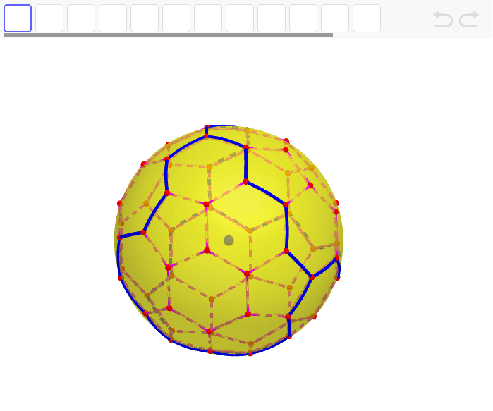 正五角形が3つで正六角形が5つの組み合わせで、4面の合同な形ができる。 ワークシートを始めるにはEnter キーを押してください。