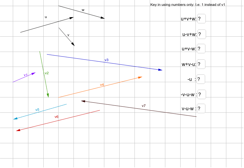 Move the vectors around and answer the corresponding questions Press Enter to start activity