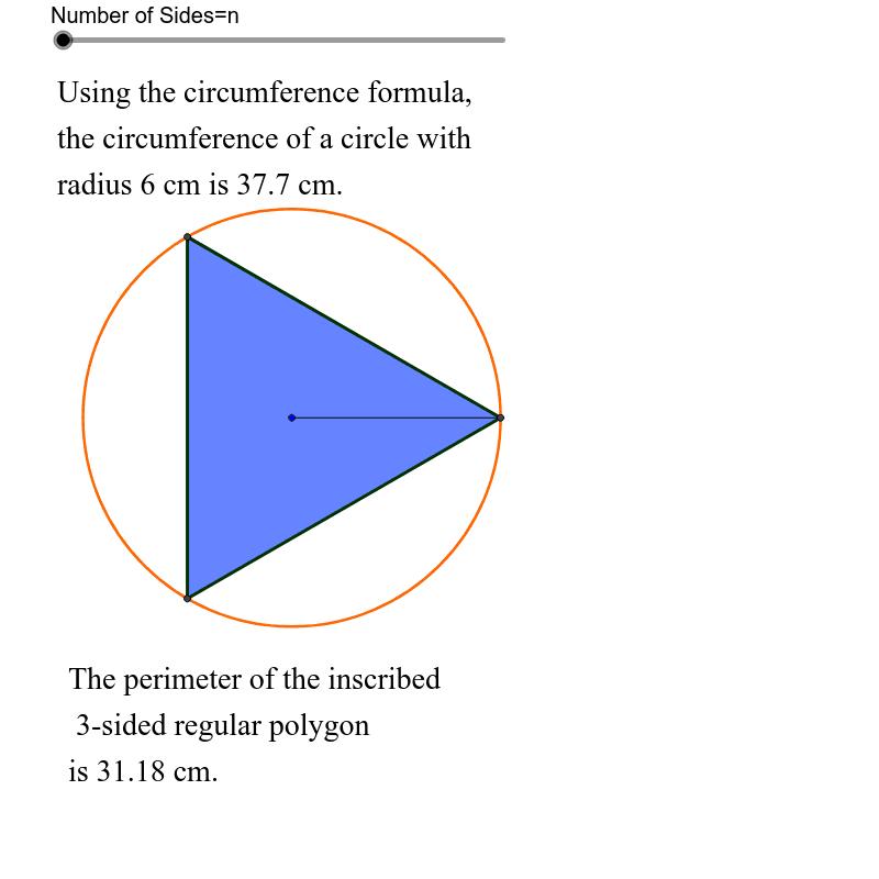 Circumference vs. Perimeter of Inscribed Regular N-gon Press Enter to start activity
