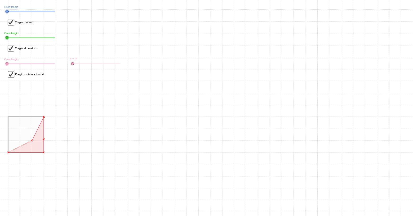 Muovi i punti rossi per crearti un timbro. Scorri gli slider per ottenere i fregi. Premi Invio per avviare l'attività