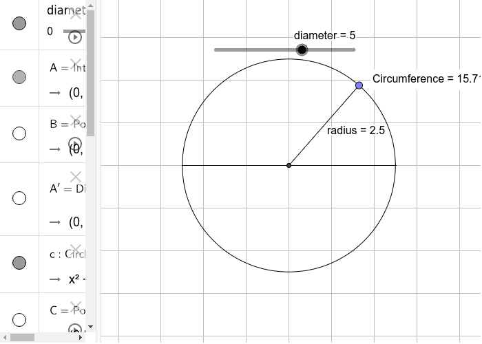 Circumference of a circle Press Enter to start activity