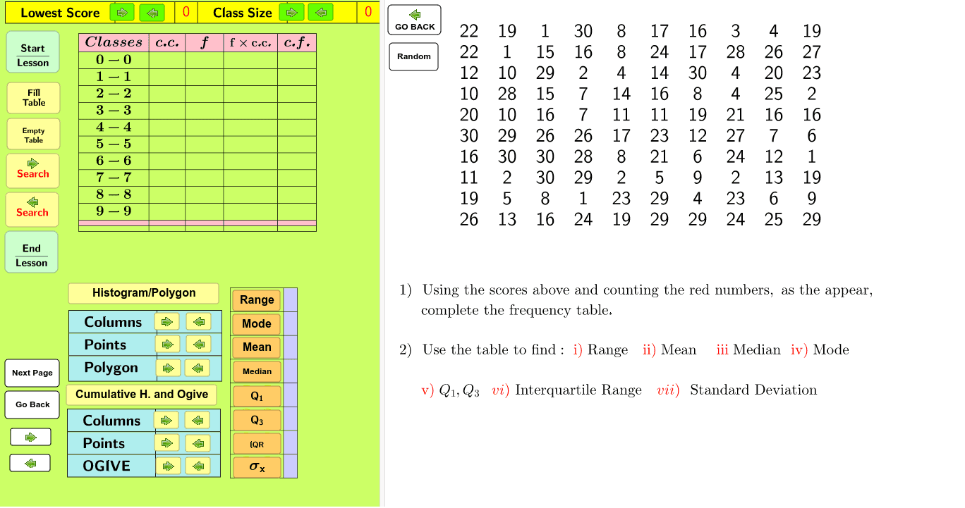 GROUPED DATA - RANDOM NUMBERS Press Enter to start activity