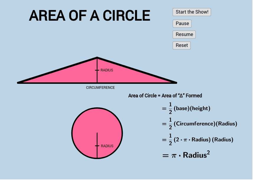 Area of a circle Press Enter to start activity