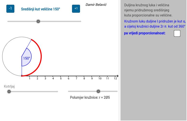 2.) Duljina kružnog luka Pritisnite Enter za pokretanje.