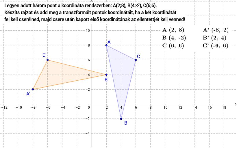 Az  A, B, C pontok mozgathatóak. Press Enter to start activity