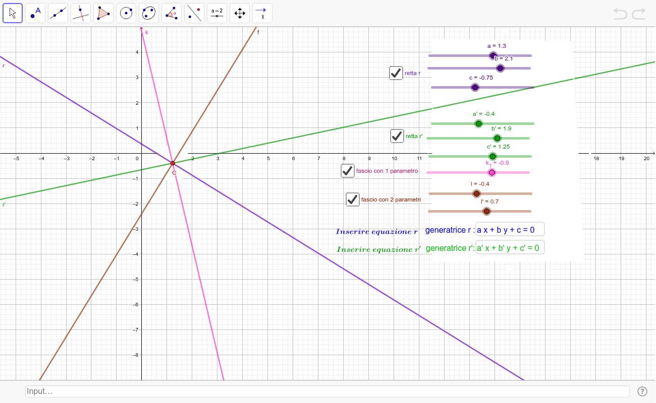 Verifica grafica dei quesiti relativi ai fasci di rette. Premi Invio per avviare l'attività