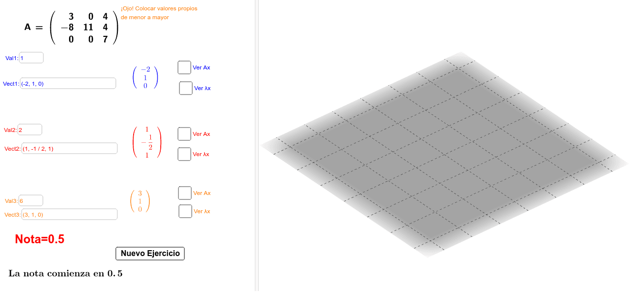 Simulador Valores-Vectores Propios R³ Presiona Intro para comenzar la actividad