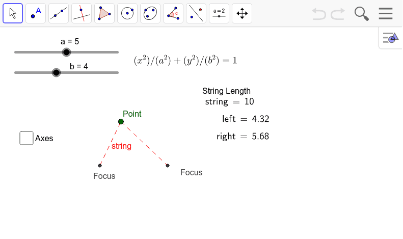 "If you envision a string being stretched around two points, the shape outlined by the string would be an ellipse. Note as 'a' and 'b' change, the length and width of the ellipse also change. Enable ""Trace"" on the point to actually see the ellipse. Press Enter to start activity"