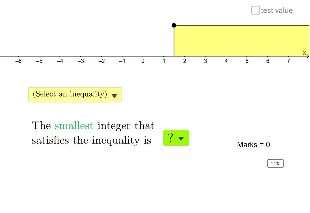 選出圖示所代表的不等式,並選出滿足不等式的最大或最小整數。 Press Enter to start activity