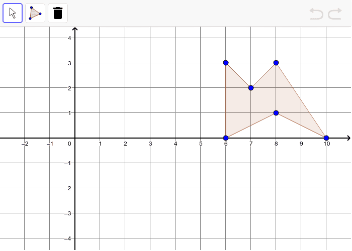 Translate the polygon using the math rule: (x, y) -> (x - 3, y - 3) Press Enter to start activity