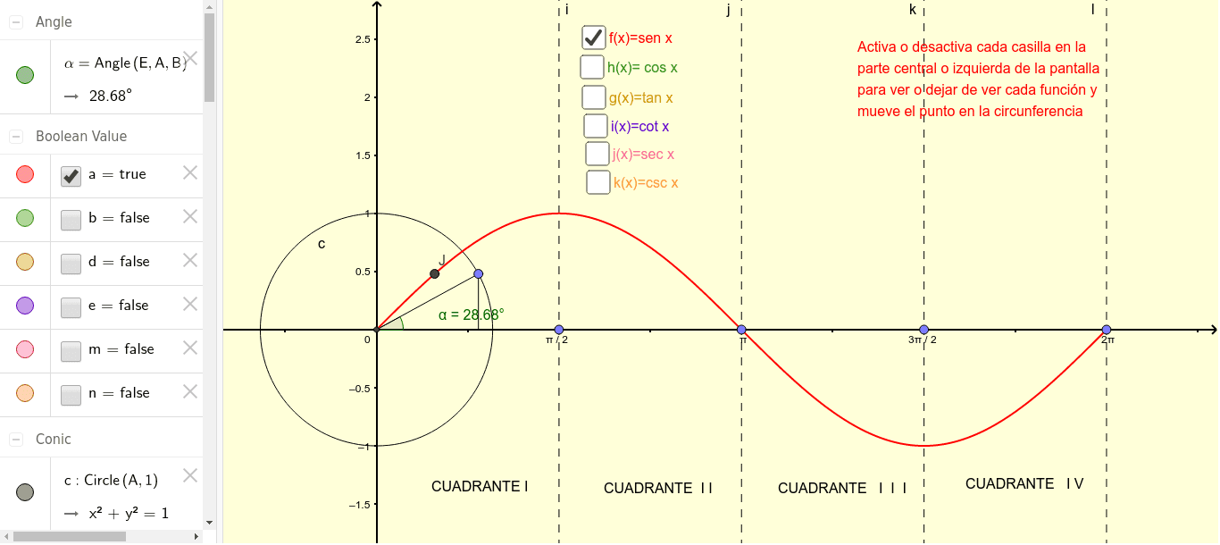 Aquí podrás preciar el comportamiento de las diversas funciones trigonométricas Presiona Intro para comenzar la actividad