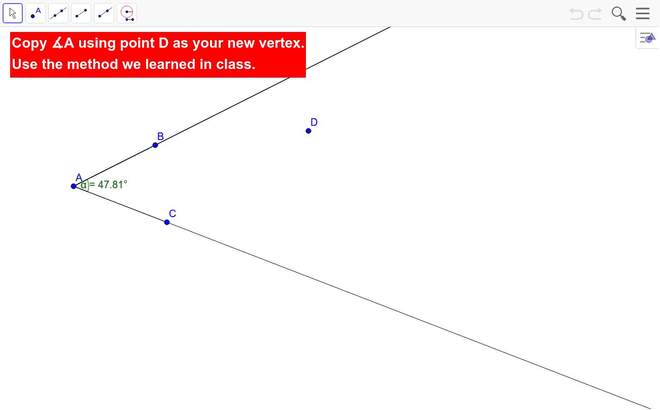 Construct an angle Press Enter to start activity