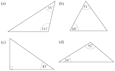 [b]Question: Find the largest side in each of these triangles using the information learned from this theorem. [size=150]  [/size][/b][b]Now formulate your own proof for this theorem.[/b]