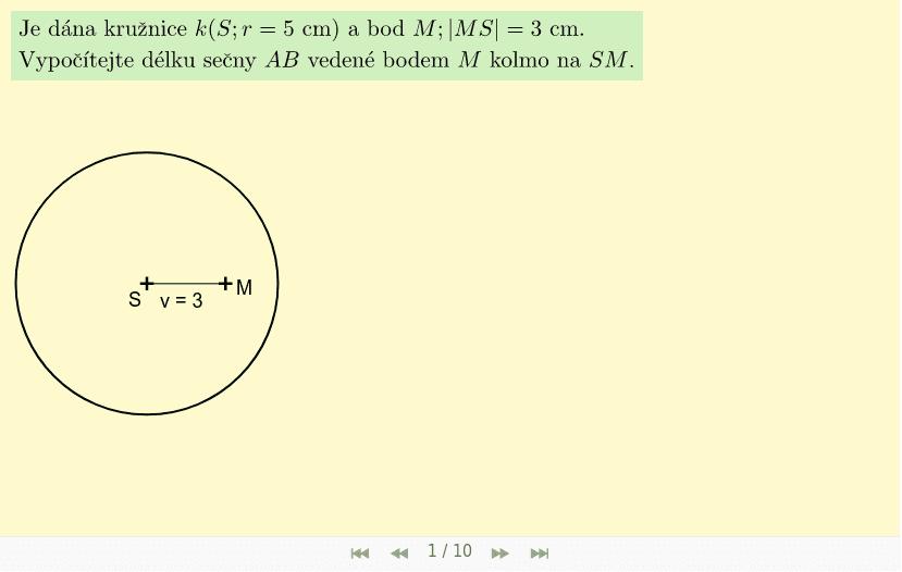Příklad 2 - bod M je uvnitř kružnice Zahajte aktivitu stisknutím klávesy Enter