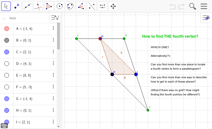 Possible Results and Follow-Up to Parallelogram Problem including Alternative Task(s) Press Enter to start activity