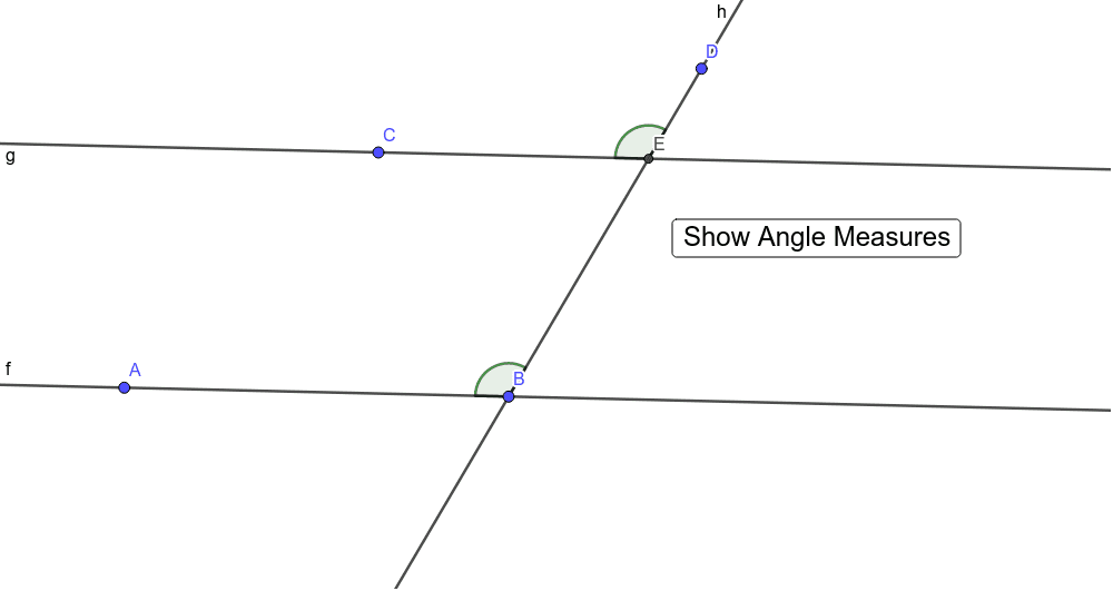 Given: Lines f and g are parallel. Press Enter to start activity