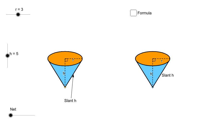 Net of Cone - Use sliders to manipulate radius, height, and to open and close net Press Enter to start activity