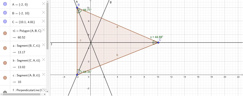 El ortocentro de un triángulo acutángulo está en el interior del triángulo. Presiona Intro para comenzar la actividad