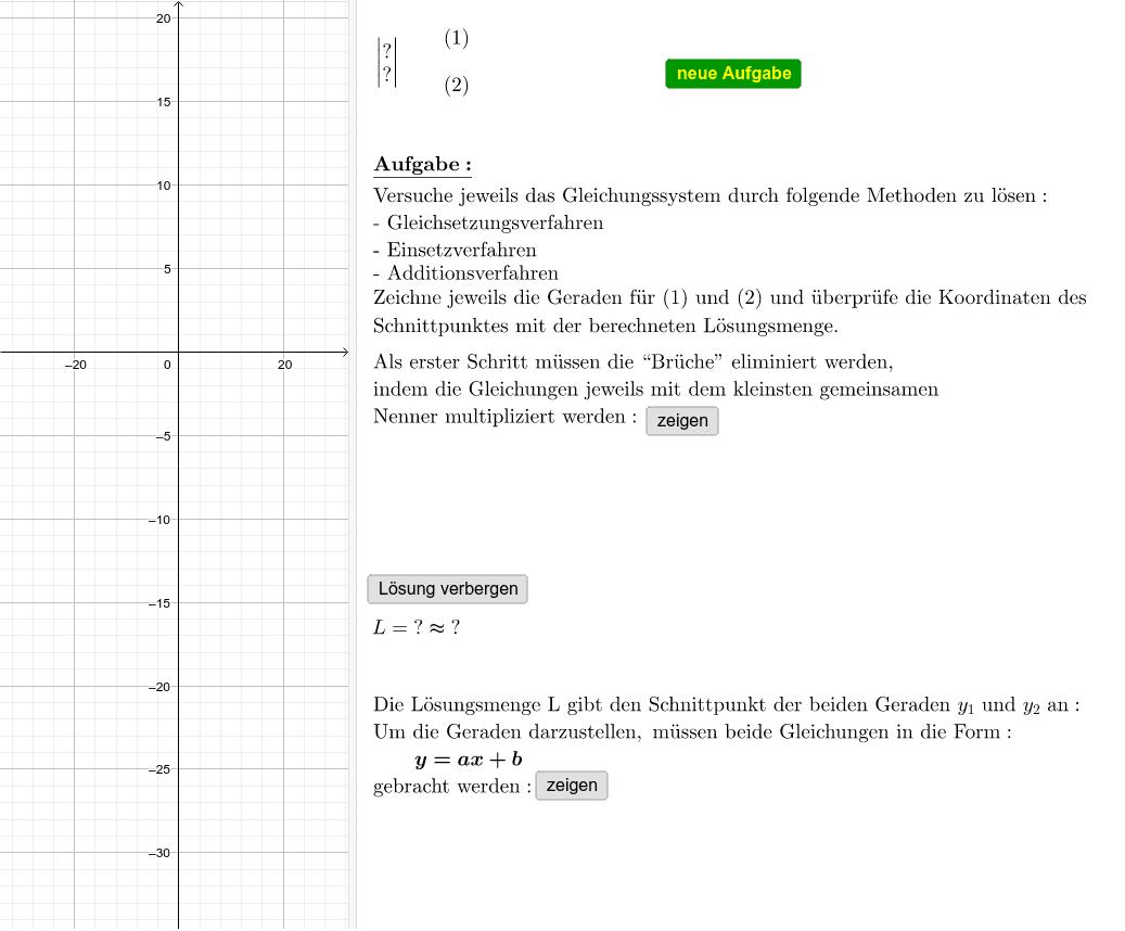 Lineare Gleichungssysteme mit Brüchen Drücke die Eingabetaste um die Aktivität zu starten