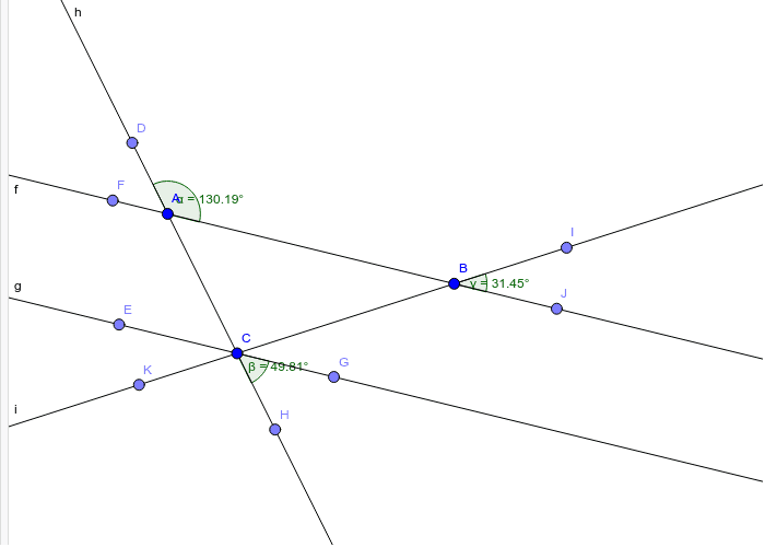 Line f is parallel to line g. Line h and line i are transversals. Press Enter to start activity