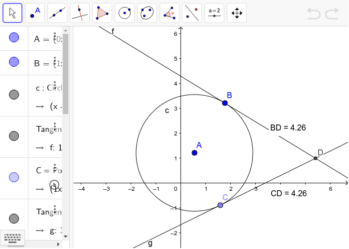 Lines f and g are tangents to circle A. They intersect at point D.  Press Enter to start activity