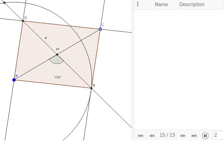 Konstruiere einen Rhomboid aus a=7, e=9 und einem Diagonalenzwischenwinkel von 105 Grad Drücke die Eingabetaste um die Aktivität zu starten