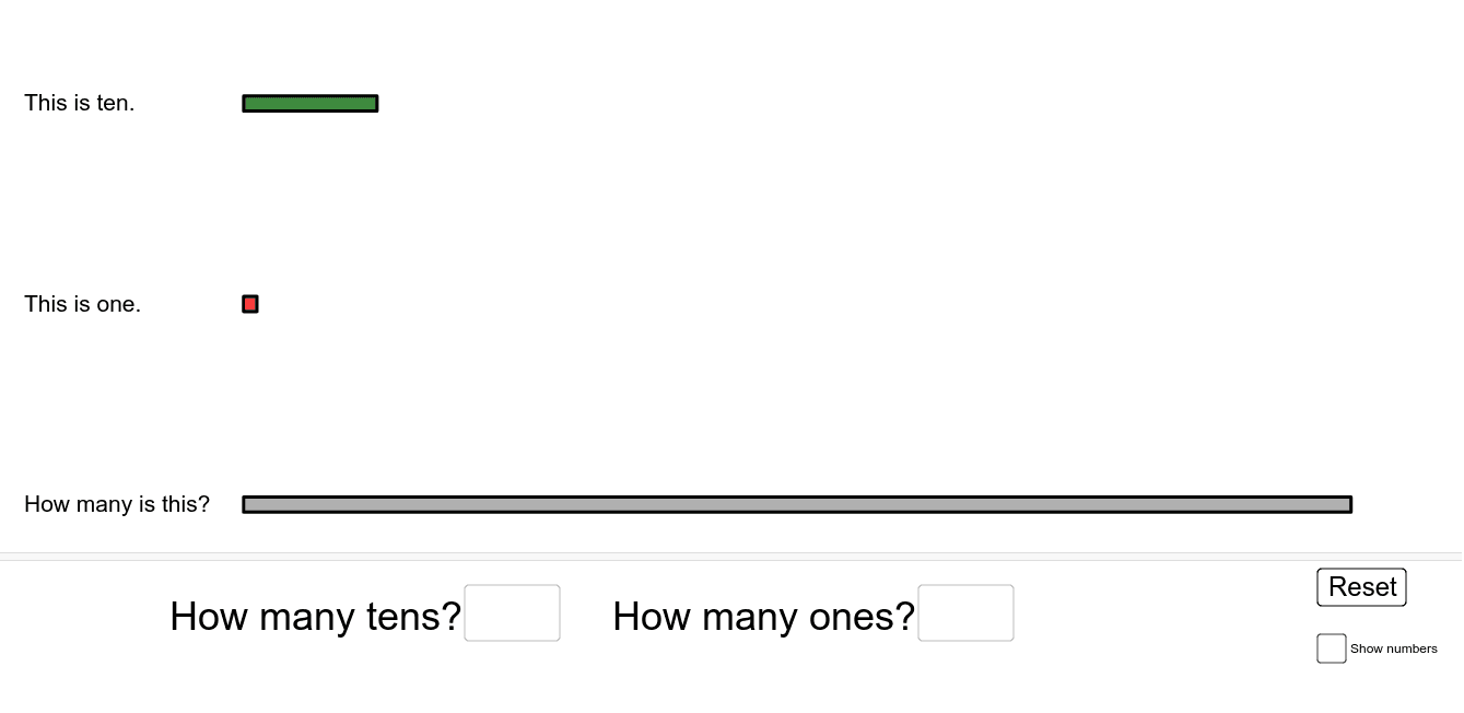 How many different ways can you use tens and ones to represent the grey rectangle? Press Enter to start activity