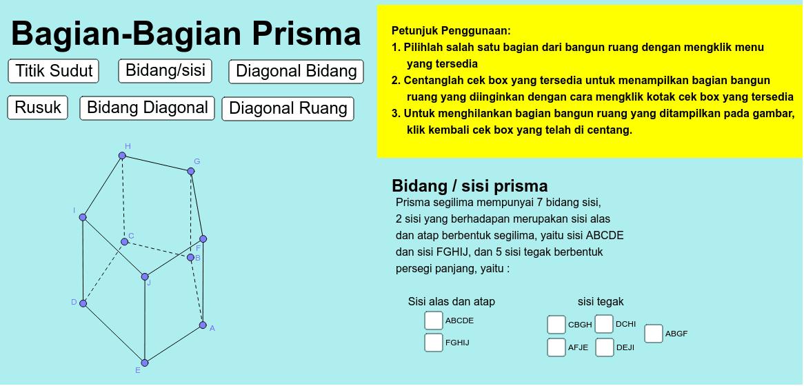 Pelajari applet berikut untuk memahami bagian-bagian dari prisma Press Enter to start activity