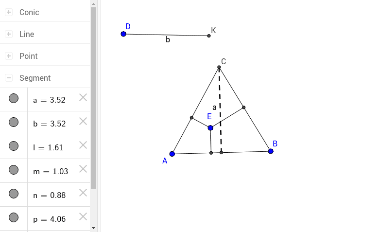 The sum of the lengths of the segments from E is equal to the length of the altitude of the triangle Press Enter to start activity