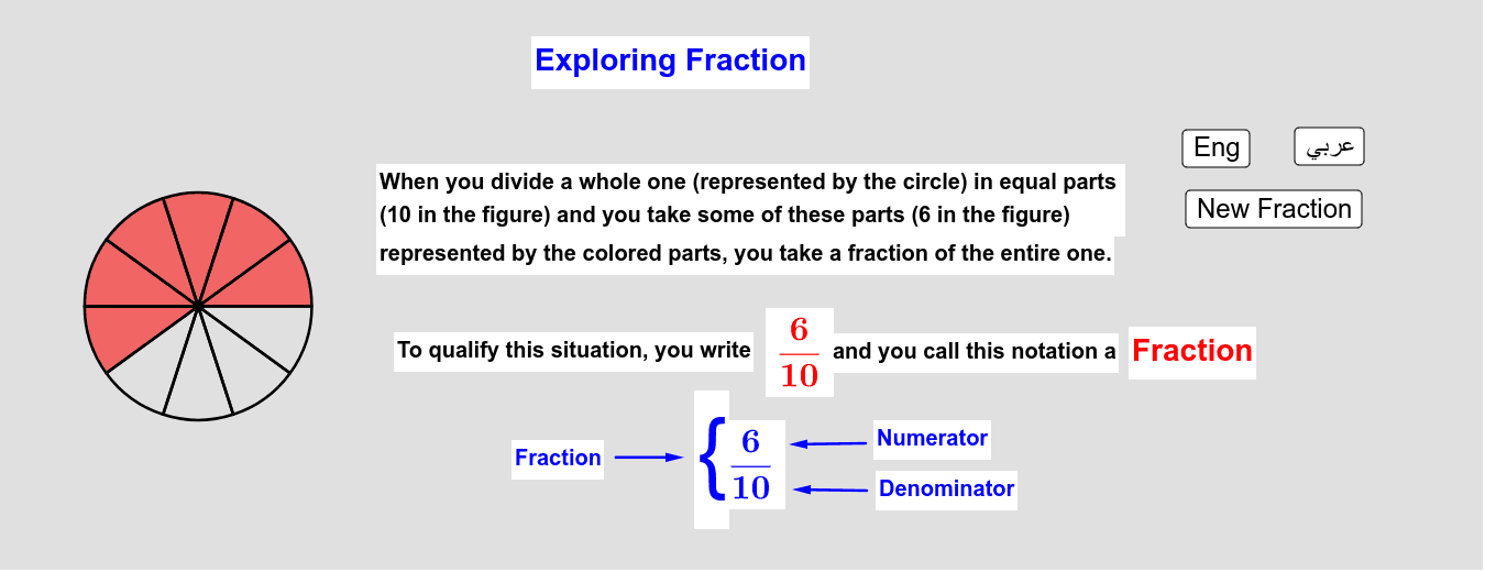 Exploring Fractions - 2     استكشاف الكسور - 2 Press Enter to start activity