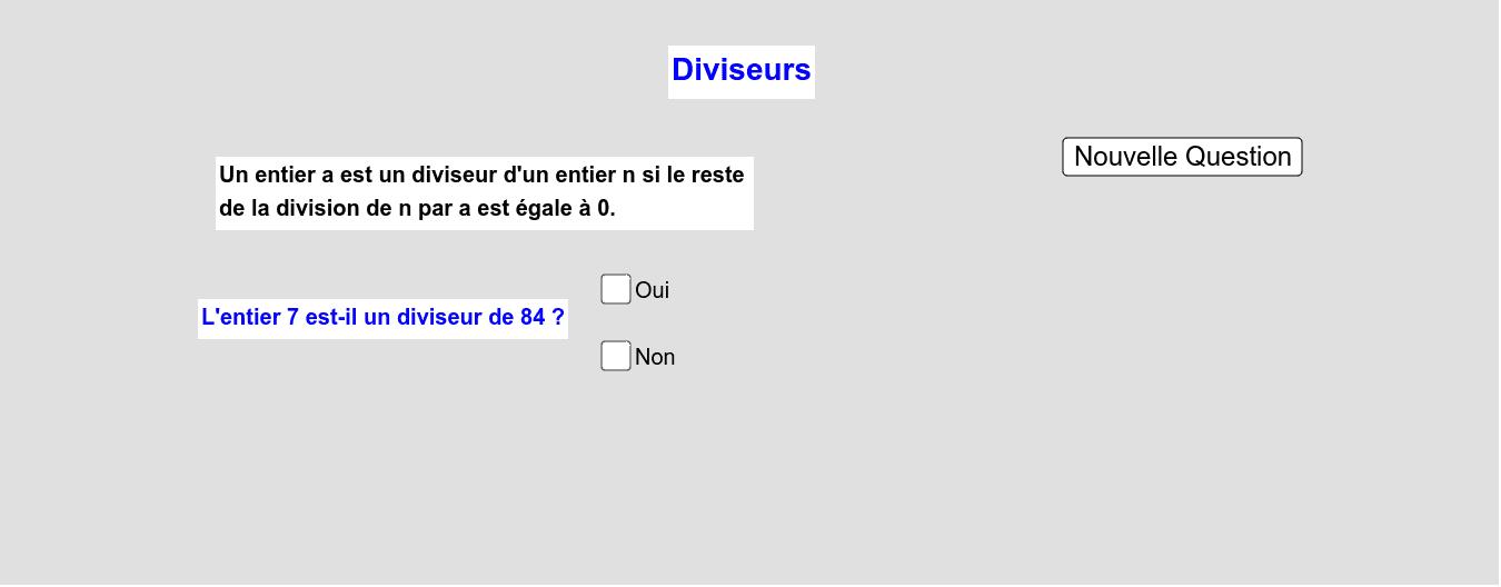 Diviseurs Press Enter to start activity