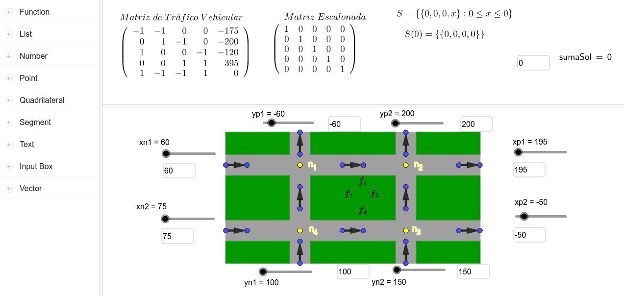Buscando una matriz de tráfico vehicular con una matriz escalonada de varias soluciones Press Enter to start activity