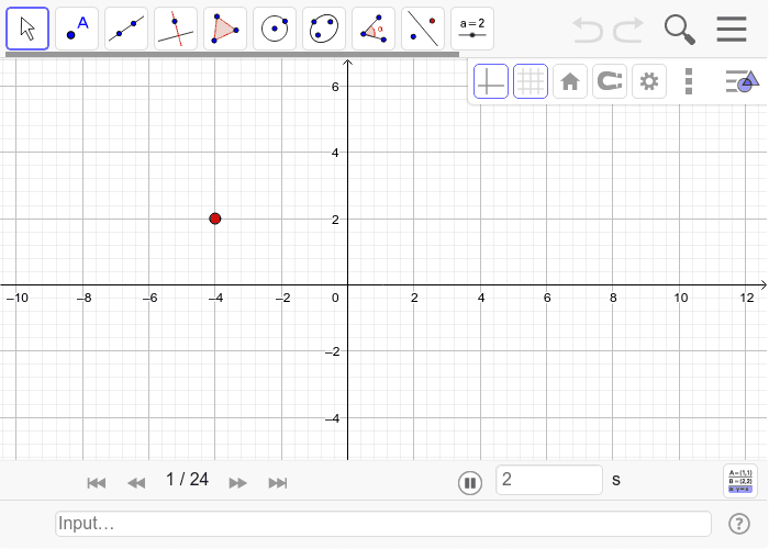 In the interactive below 3 points are rotated 45, 90 and 180 degrees clockwise around the origin (start at 1 and go through each iteration by pressing the right double arrow). Watch as the rotations occur and make some observations. Press Enter to start activity