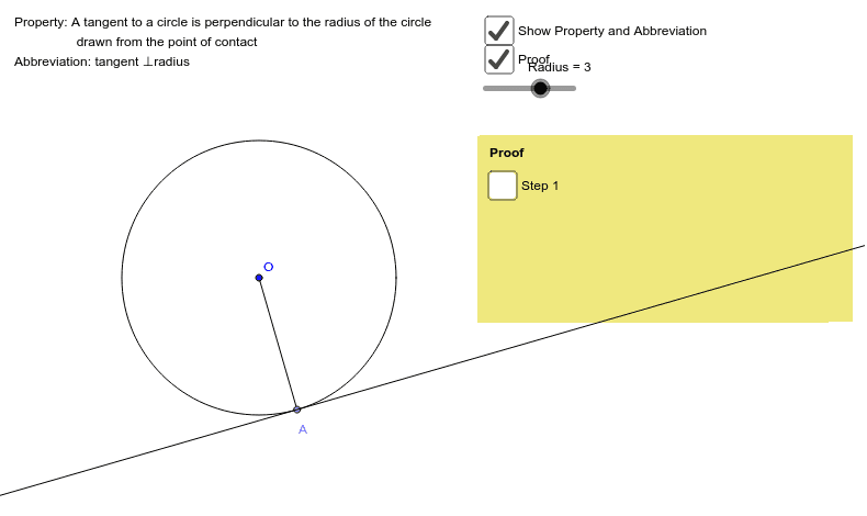 5. Tangent at any point on a circle is perpendicular to the radius at that point Press Enter to start activity