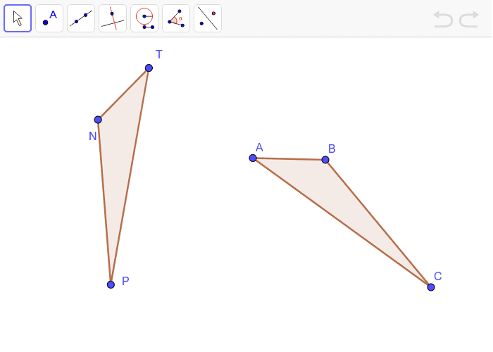 Use translations, rotations, and reflections to move one triangle onto the other. Press Enter to start activity