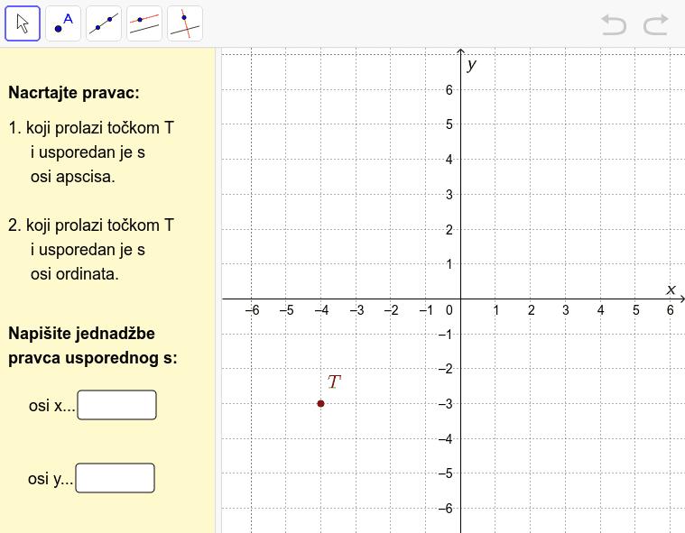 U koordinatnom sustavu nacrtajte dva pravca kako se traži u zadatku i napišite njihove jednadžbe. Pritisnite Enter za pokretanje.