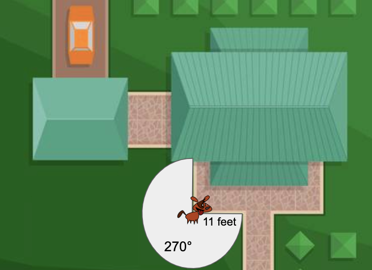 Your dog got a new chain for the backyard today.  In order for him to have enough room to run around, he needs to have a total of 200 square feet that he can reach.  With the leash place at the corner of the porch, will he have enough space?  Find the are