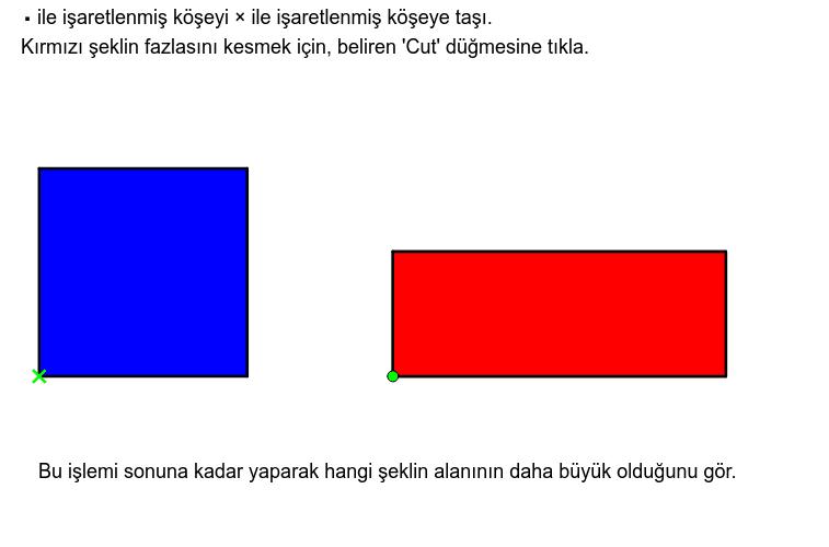 Aşağıda verilen mavi karenin mi yoksa kırmızı dikdörtgenin mi alanının daha büyük olduğunu tahmin edebilir misin? Etkinliği başlatmak için Enter'a basın
