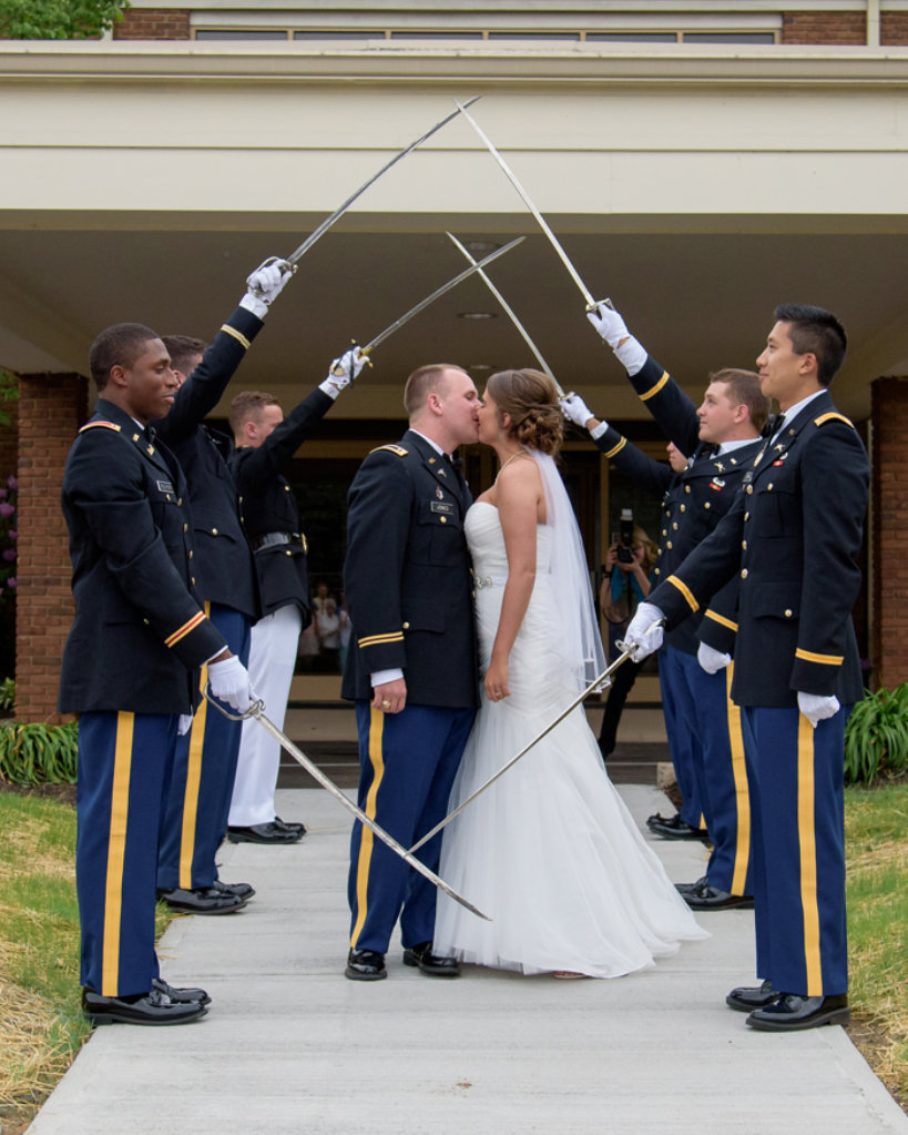 Why do they cross swords at military weddings?