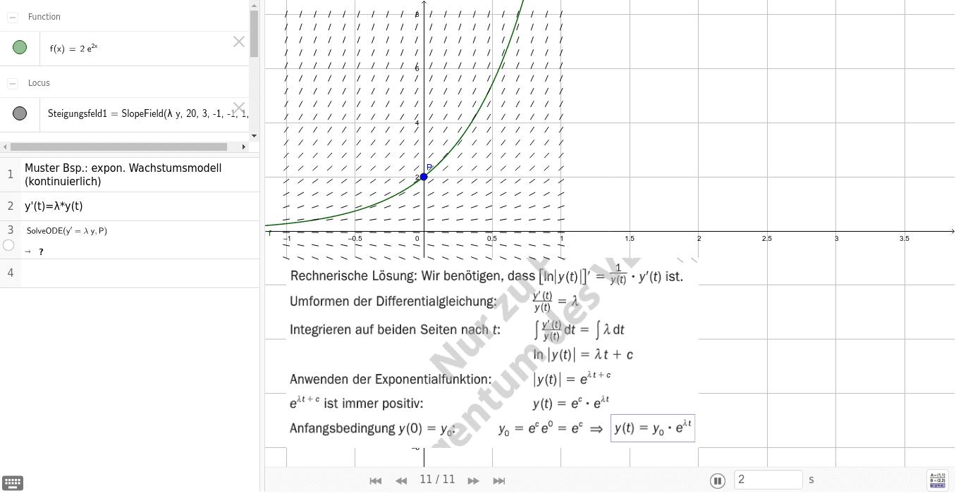 Bsp. zu 497 Kontinuierliches exponentielles Wachstum / tm 8.KL S126-127 Drücke die Eingabetaste um die Aktivität zu starten