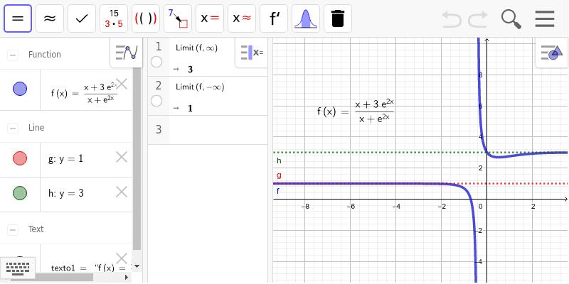 Halla el valor del límite de f en más infinito y menos infinito. Interpreta el resultado de estos límites. (ABAU-Galicia 2017. Septiembre, opción A, 2a) Presiona Intro para comenzar la actividad