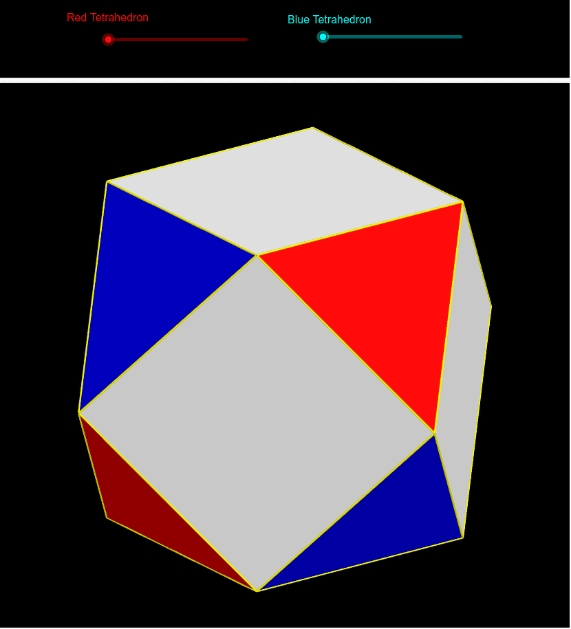 Progression between a tetrahedron, expanded into a cuboctahedron, and reverse expanded into the dual tetrahedron. Press Enter to start activity