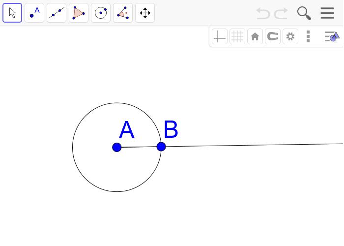 [과제2] 점 A를 중심으로 반지름이 선분 AB의 두 배인 동심원을 작도하세요. 활동을 시작하려면 엔터키를 누르세요.