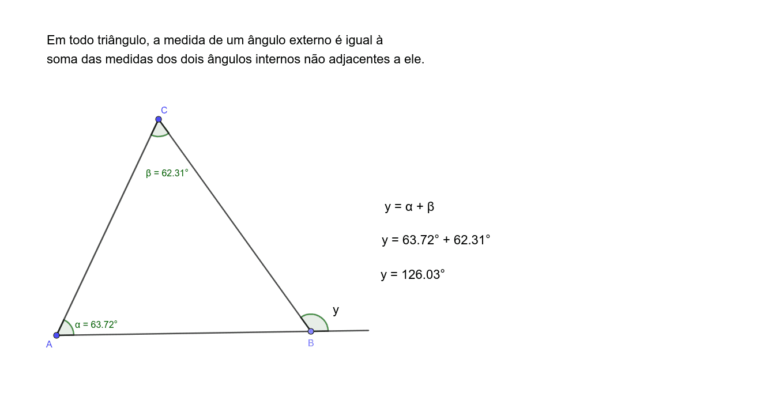 Pesquise e escolha um teorema sobre triângulos, e faça um applet dinâmico. O contexto do teorema pode estar inserido numa questão de vestibular, concurso.  Press Enter to start activity