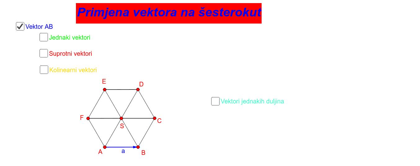 Primjena vektora na šesteroku Press Enter to start activity
