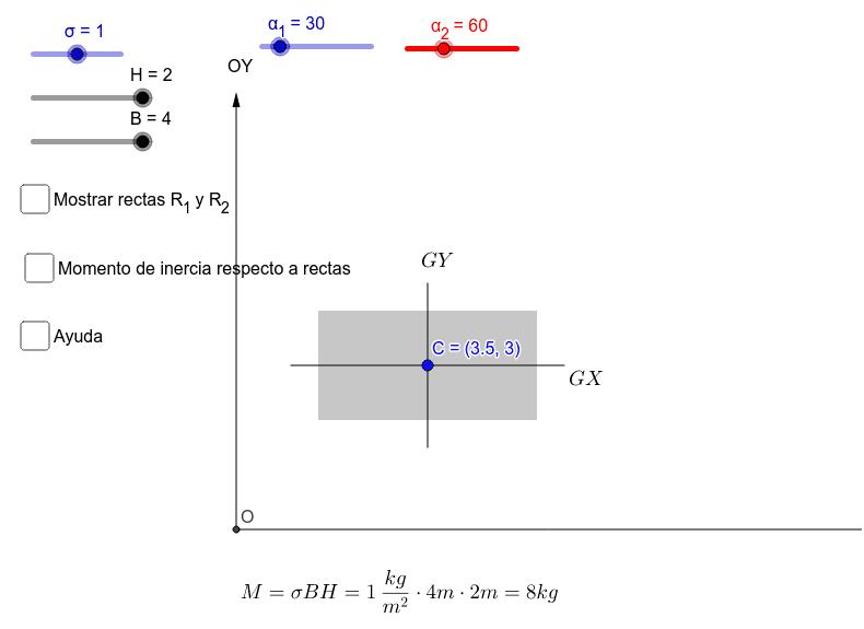 Seleccionar los ángulos de las rectas. Confirmar que cuando los ángulos forman 90º, la suma es igual a la suma de los momentos de inercia respecto a los ejes OX y OY Presiona Intro para comenzar la actividad