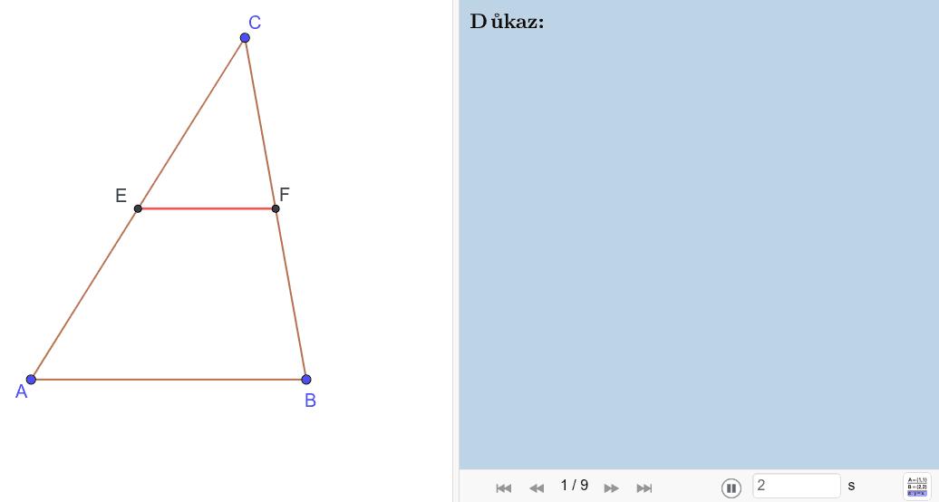 Důkaz 1: Učebnice: Macháček, Kraemer, Pírek - Geometrie pro 8. ročník (1980) Press Enter to start activity
